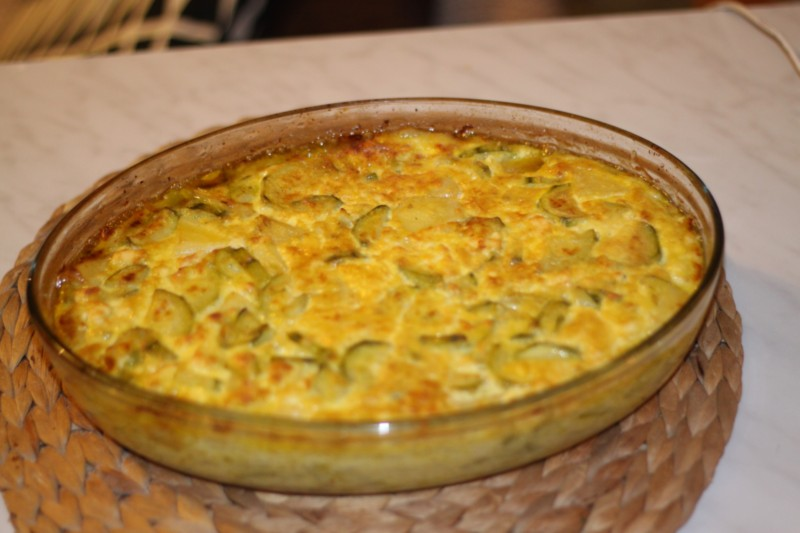 le gratin de courgettes sortant du four